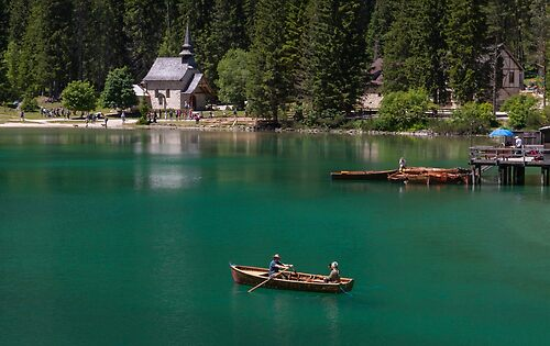 Boat in the lake of Braies